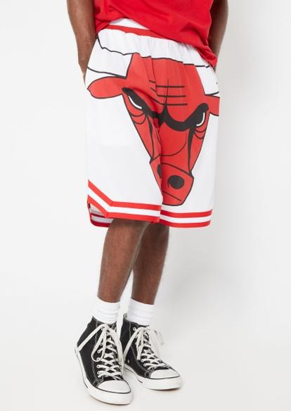 white chicago bulls licensed mesh basketball shorts - Main Image