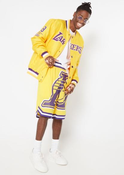 nba la lakers yellow mesh basketball shorts - Main Image