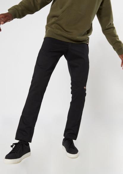 dickies black skinny straight double knee work pants - Main Image