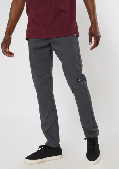 dickies charcoal skinny straight double knee work pants - Main Image