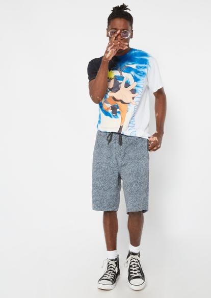 gray static print jogger sweat shorts - Main Image