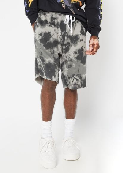 gray tie dye print jogger sweat shorts - Main Image