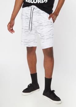 white marled jogger shorts - Main Image