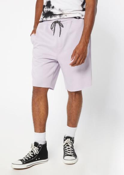 lavender knit jogger shorts - Main Image