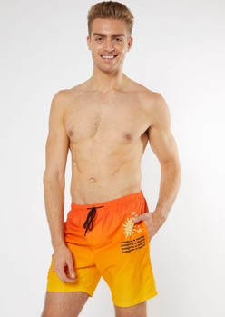 orange dip dye print swim trunks - Main Image