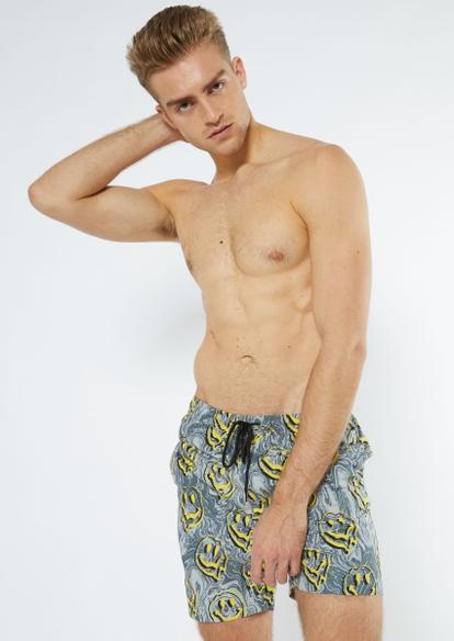gray drippy smiley face print swim trunks - Main Image