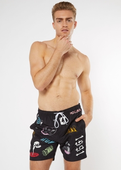 black tattoo doodle print swim trunks - Main Image