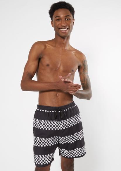 black checkered print striped swim shorts - Main Image