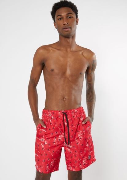 red watermelon print swim shorts - Main Image