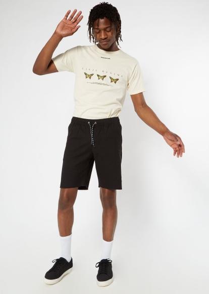 black drawstring waist chino shorts - Main Image