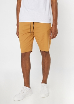 khaki drawstring waist chino shorts - Main Image