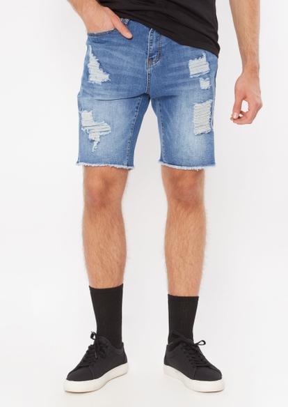 medium wash ripped jean shorts - Main Image