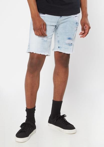 light acid wash ripped jean shorts - Main Image