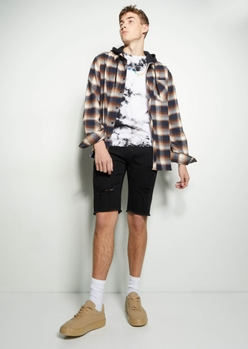 black ripped jean shorts - Main Image