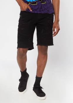 black ripped moto jean shorts - Main Image