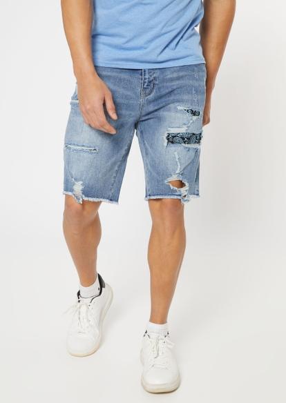 medium wash ripped repaired bandana backed shorts - Main Image
