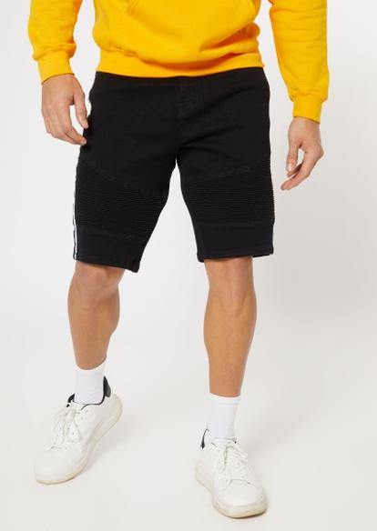 black side striped moto jean shorts - Main Image