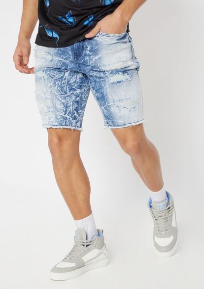 light crackle wash frayed jean shorts - Main Image