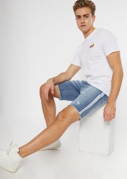 light wash reflective side striped jean shorts - Main Image