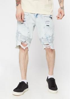 light wash ripped moto shorts - Main Image