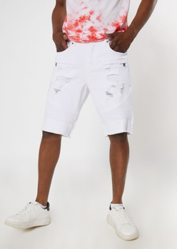 white ripped moto jean shorts - Main Image