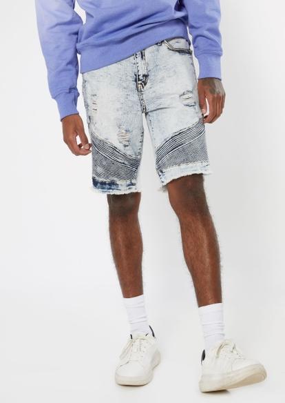 bleach wash side moto shorts - Main Image