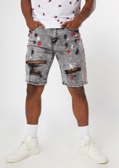 gray paint smudge side stripe jean shorts - Main Image