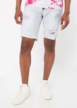 light wash ripped jean shorts - Main Image