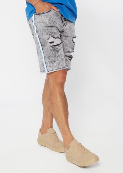 gray acid wash side stripe ripped jean shorts - Main Image