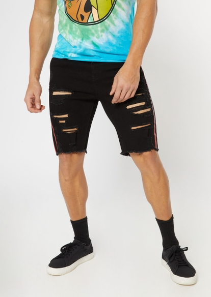 black side striped ripped jean shorts - Main Image