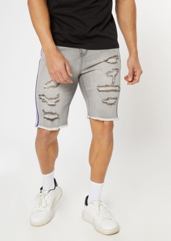 gray side striped ripped jean shorts - Main Image