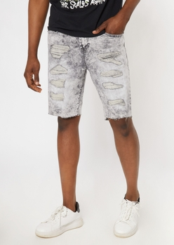 gray acid wash ripped repaired jean shorts - Main Image