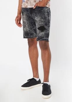 black crinkle wash jean shorts - Main Image