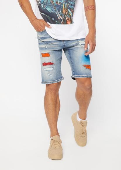 light wash faded paint rip repair jean shorts - Main Image