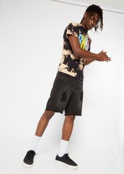 black rip repair jean shorts - Main Image