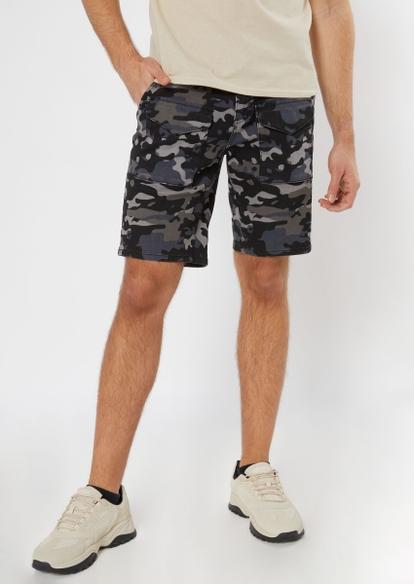 gray camo print cargo shorts - Main Image