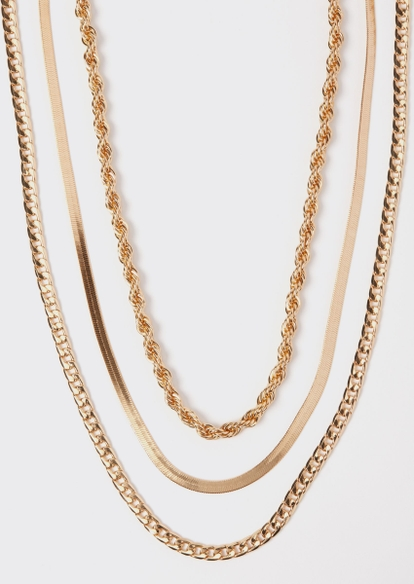 3-pack gold rope chain necklace set - Main Image
