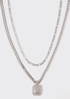 2-pack silver dog tag chain necklace set - Main Image