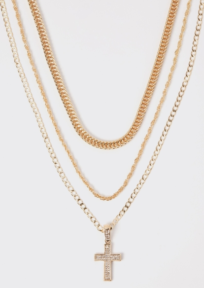 3-pack gold cross chain necklace set - Main Image