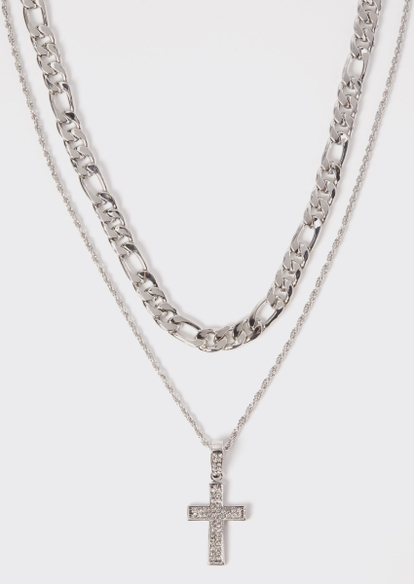 2-pack silver cross chain necklace set - Main Image