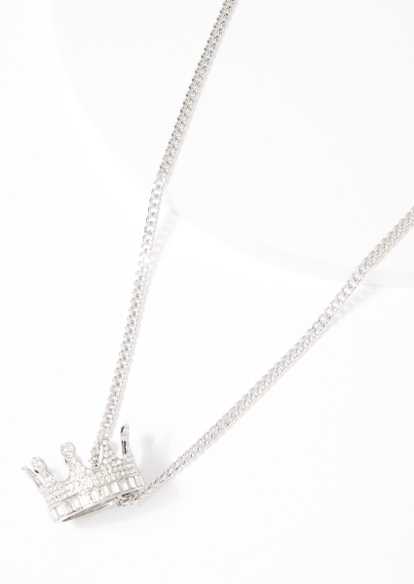 silver kings crown pendant necklace - Main Image