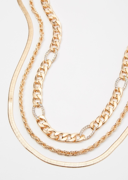 3-pack braided chain necklace set - Main Image