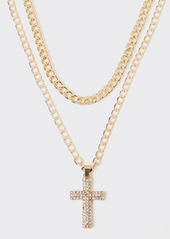 gold chain layered cross necklace - Main Image