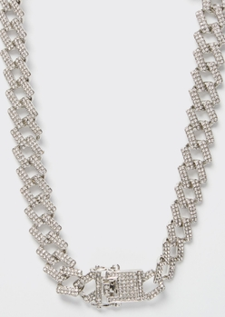 rhinestone geo cuban chain necklace - Main Image