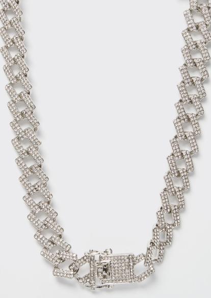 rhinestone geo cuban chain necklace - Main Image