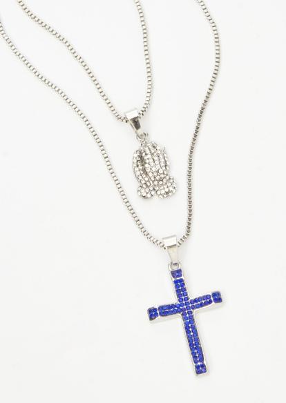 2-pack silver cross prayer hands necklace set - Main Image