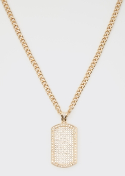gold bling dog tag chain necklace - Main Image