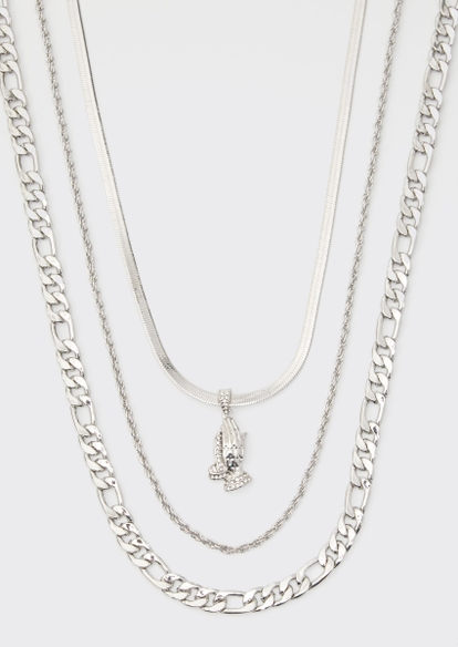 silver praying hands triple layer chain necklace set - Main Image