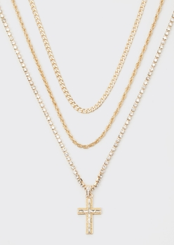 gold rhinestone cross triple layer chain necklace set - Main Image