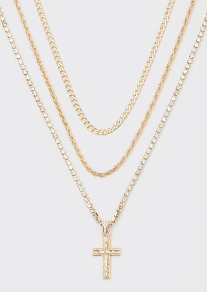 gold rhinestone cross triple layer chain necklace set - Main Image